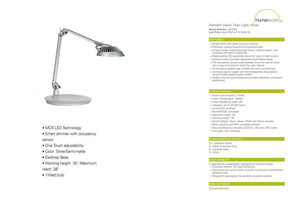 Humanscale Element Vision Task Light - New