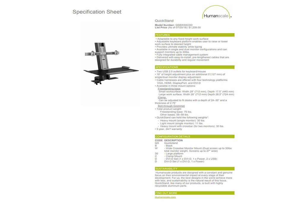 Humanscale Quickstand - Dual Crossbar - Used