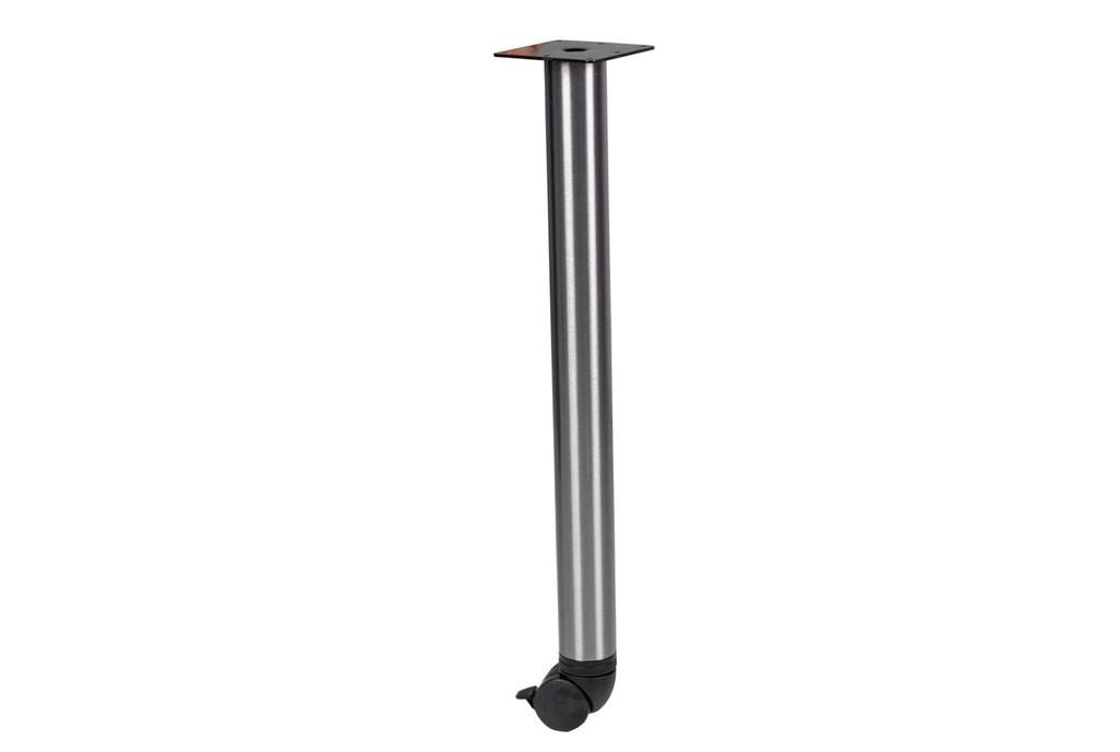 Polished Aluminum Post Leg w/ Locking Casters - Used