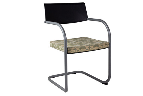Knoll Side Chair (Black Back w/ Pattern Seat) - Used