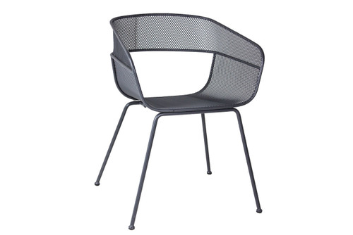 Grey Metal Scoop Chair - Used