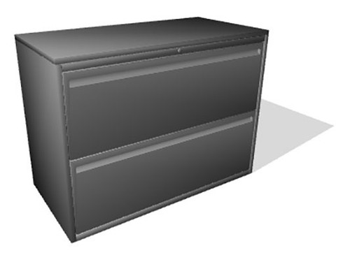 "Haworth 950 Series 2 Drawer 36"" Radius Case Lateral File - Repainted"