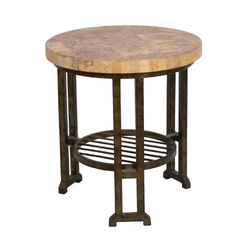 "Stone Top Round Side Table 22""Hx24""W - Preowned"