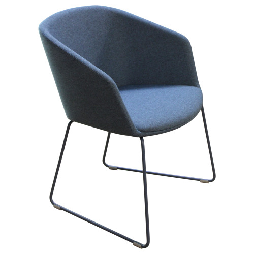 Poppin Pitch Sled Chair - Blue - Preowned