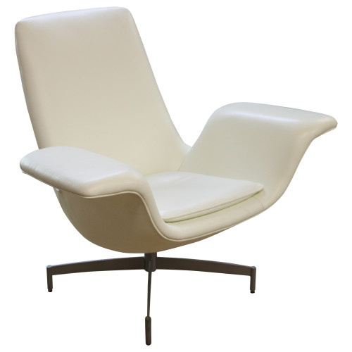 HBF Dialogue Swivel Lounge Chair - White - Preowned
