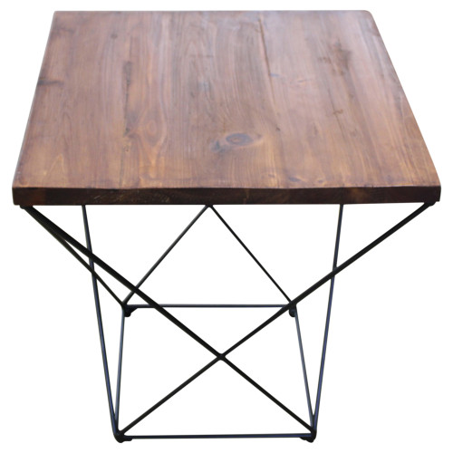 Industrial Wood Side Table - Preowned
