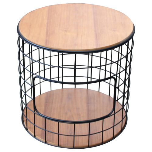 Gus Modern Wireframe End Table - Walnut - Preowned