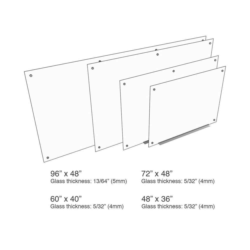 """Luxor 48""""W x 36""""H Magnetic Wall-Mounted Glass Board (WGB4836M)"""