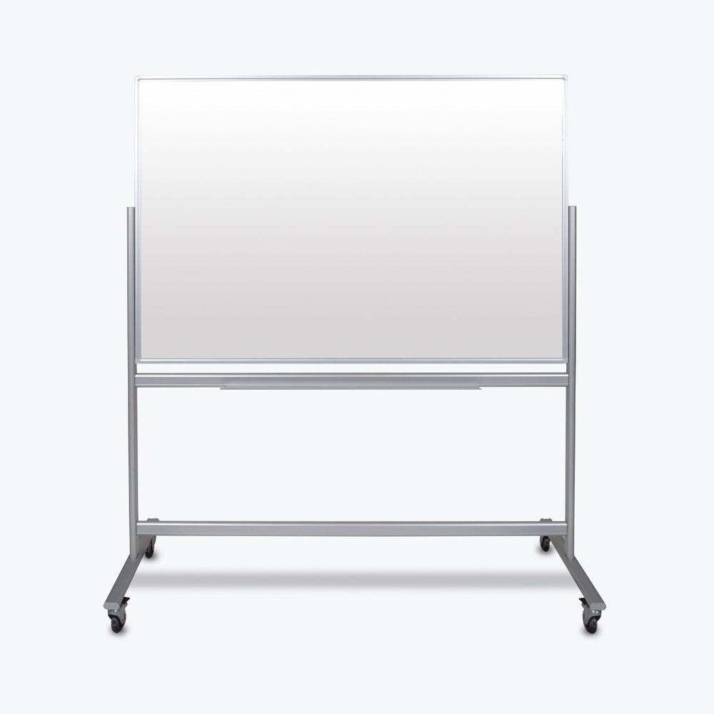 """Luxor 60""""W x 40""""H Double-Sided Mobile Magnetic Glass Marker Board (MMGB6040)"""