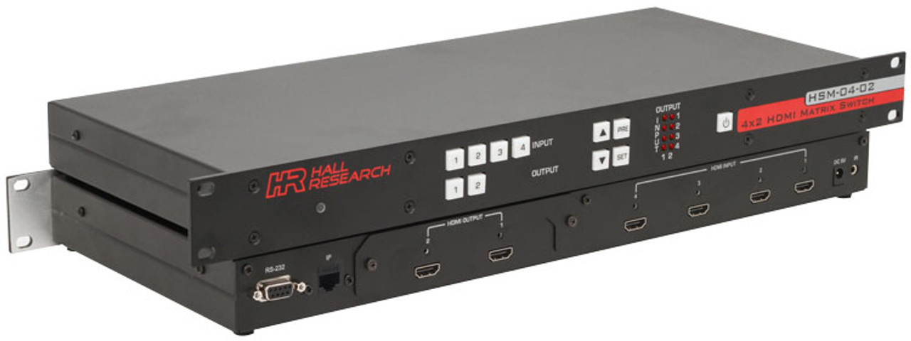 Hall Research 4x2 HDMI Matrix Switch with RS232 and IP Control (HSM-I-04-02)