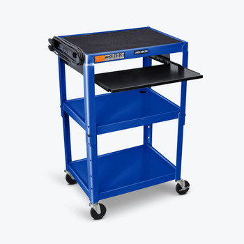 Luxor Adjustable-Height Steel AV cart (AVJ42KB-RB)