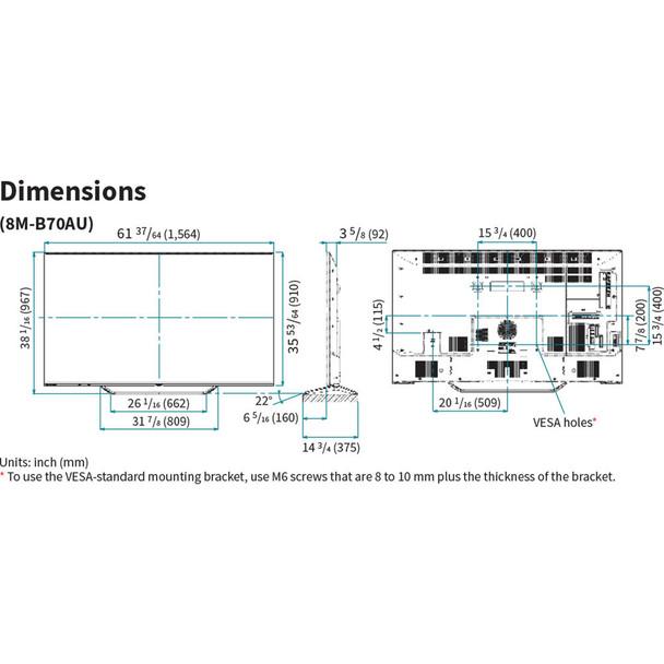 """Sharp 8M-B70AU 70"""" 8K Display"""