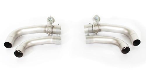 Remus Rear Silencer Valved - 4 Carbon tail pipes angled/angled/Titanium internals - Giulia Quadrifoglio