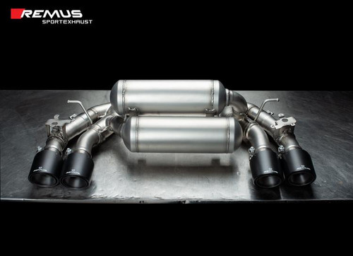Remus GPF back Exhaust Valved - 4 Carbon tail pipes 102 mm angled/Titanium internals - F87 M2 Competition