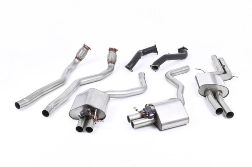 Milltek Full System - Road+ with 76mm Downpipes. Uses OE Tips - RS6 - C7 4.0 TFSI biturbo quattro inc Performance Edition - 2013-2020 - SSXAU599