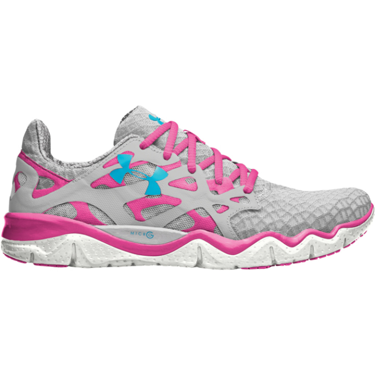 Womens Under Armour Micro G Monza Running Shoe Silver Pinkadelic  Blue -  Sieverts Sporting Goods 659476bec