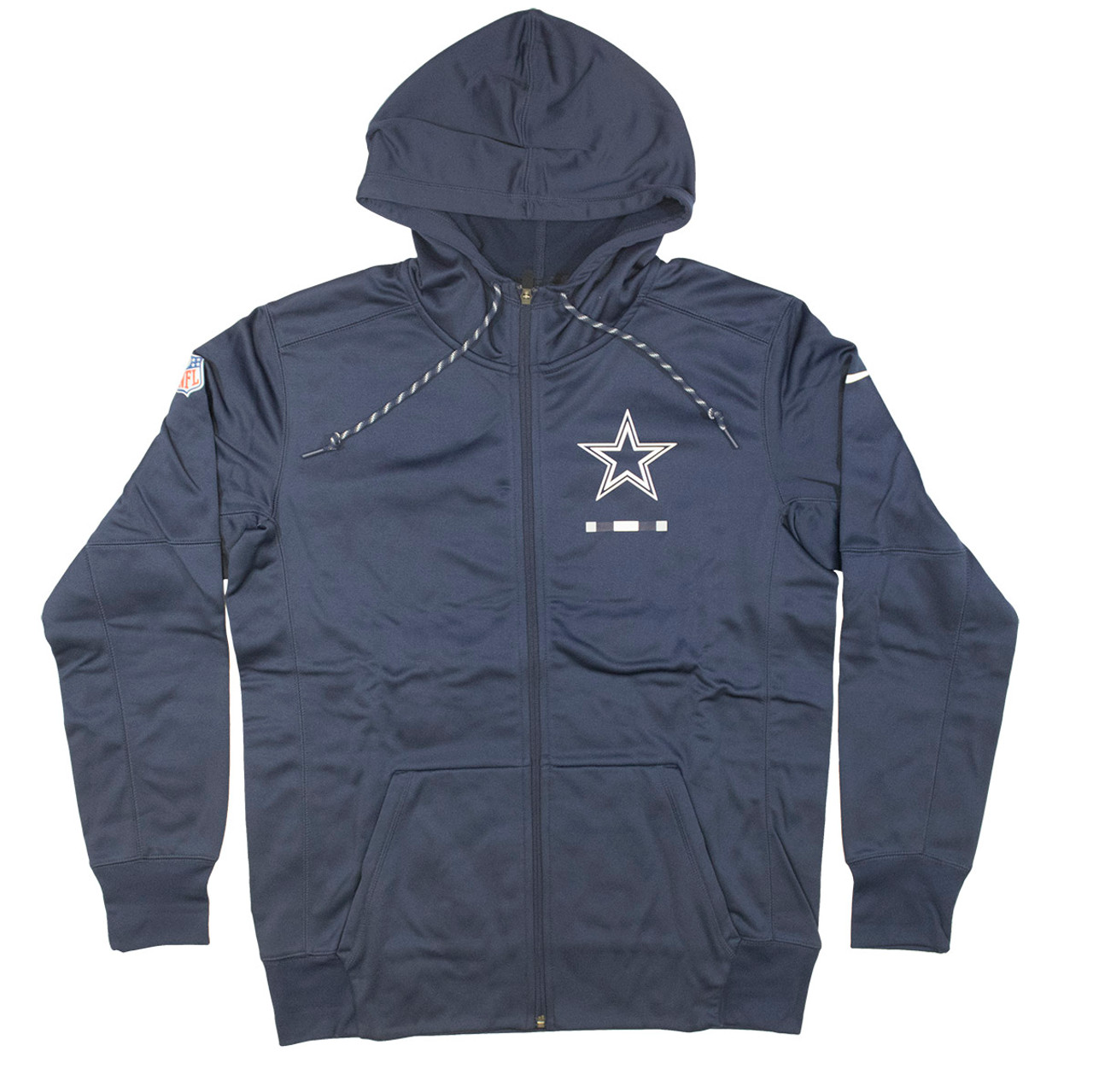 reputable site 2bebb 917a2 Men's Dallas Cowboys Men's Cowboys Navy Sideline Logo Performance Full-Zip  Hoodie