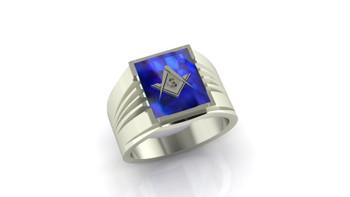 Square Mason- Blue Sapphire/ Created