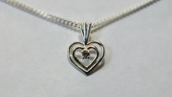 256-41 Double Heart CZ/Chain