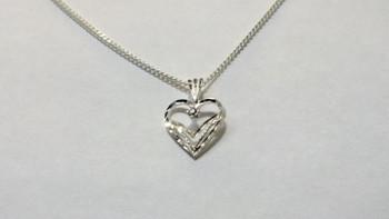 256-40 Heart Bright Cut CZ/Chain