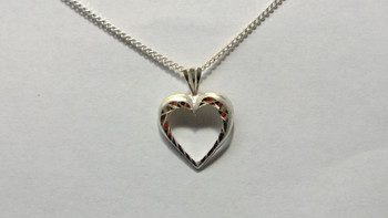 257-55 Bright Cut Heart/ Chain
