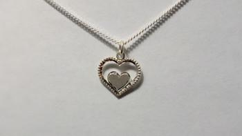 259-49 Bright Cut Double Heart/ Chain