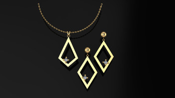 Surprise your special girl with this elegant pendant, and earrings set.  Glittering brilliant diamonds sparkle from the fashion forward simplicity of design.  She deserves the best...