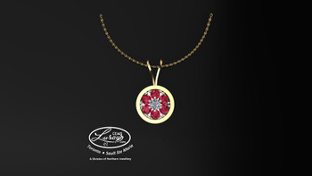 This simple, fashionably framed 11 mm diameter, two part design. accentuates a crafted reflective center setting supporting a..03 ct round diamond and genuine ruby gemstones.  Hand selected by experts for their brilliance, rich color and eye catching appeal.  We believe as you do …  Be it; birthday, anniversary or just because… she deserves the best.  Your choice of 10 or 14K gold, white, yellow or two tone.  Chain not included but available on request, Ask us for details.