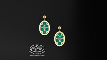These simple, fashionably framed 11x13 oval, two part designs, accentuate the crafted reflective center setting supporting .05 CT per side for a .10 ct tdw and genuine emerald gemstones.  Diamonds and gemstones are selected by experts for their brilliance, rich color and eye catching appeal.  Suspended on 3mm drop down ball studs with secure butterfly clasps, these stunning pieces will catch the light with every movement.  We believe as you do …  Be it; birthday, anniversary or just because… she deserves the best.  Your choice of 10 or 14K gold, white, yellow or two tone.