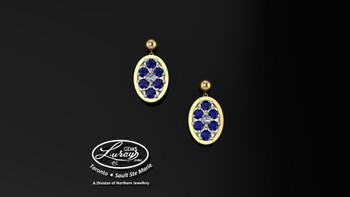 These simple, fashionably framed 11X13 OVAL, two part designs, accentuate the crafted reflective center setting supporting .05 CT per side for a .10 ct tdw and genuine blue sapphire gemstones.  Diamonds and gemstones are selected by experts for their brilliance, rich color and eye catching appeal.  Suspended on 3mm drop down ball studs with secure butterfly clasps, these stunning pieces will catch the light with every movement.  We believe as you do …  Be it; birthday, anniversary or just because… she deserves the best.  Your choice of 10 or 14K gold, white, yellow or two tone.