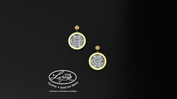 This simple, fashionably framed, 9mm two part design, accentuate the crafted reflective center setting supporting .14 ct of brilliant diamonds. selected by experts for their brilliance, rich color and eye catching appeal.  Suspended on 3mm drop down ball studs with secure butterfly clasps, these stunning pieces will catch the light with every movement.  We believe as you do …  Be it; birthday, anniversary or just because… she deserves the best.  Your choice of 10 or 14K gold, white, yellow or two tone.