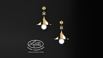 Genuine gems from the sea accented with brilliant diamonds... stylish and outstanding as a fashion statement..  Available in 10 or 14 K yellow or white gold...  She deserves the best.