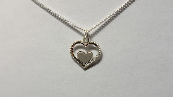 259-49 Bright Cut Double Heart/ Chain
