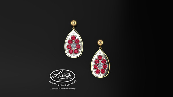 These simple, fashionably framed 13X 17 pear, two part designs, accentuate the crafted reflective center setting supporting .05 CT per side for a .10 ct tdw and genuine ruby gemstones.  Diamonds and gemstones are selected by experts for their brilliance, rich color and eye catching appeal.  Suspended on 3mm drop down ball studs with secure butterfly clasps, these stunning pieces will catch the light with every movement.  We believe as you do …  Be it; birthday, anniversary or just because… she deserves the best.  Your choice of 10 or 14K gold, white, yellow or two tone.