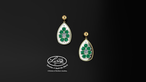 These simple, fashionably framed 13X 17 pear, two part designs, accentuate the crafted reflective center setting supporting .05 CT per side for a .10 ct tdw and genuine emerald gemstones.  Diamonds and gemstones are selected by experts for their brilliance, rich color and eye catching appeal.  Suspended on 3mm drop down ball studs with secure butterfly clasps, these stunning pieces will catch the light with every movement.  We believe as you do …  Be it; birthday, anniversary or just because… she deserves the best.  Your choice of 10 or 14K gold, white, yellow or two tone.