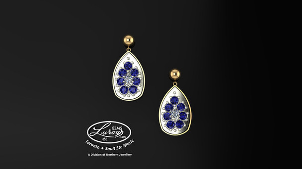 These simple, fashionably framed 13X 17 pear, two part designs, accentuate the crafted reflective center setting supporting .05 CT per side for a .10 ct tdw and genuine blue sapphire gemstones.  Diamonds and gemstones are selected by experts for their brilliance, rich color and eye catching appeal.  Suspended on 3mm drop down ball studs with secure butterfly clasps, these stunning pieces will catch the light with every movement.  We believe as you do …  Be it; birthday, anniversary or just because… she deserves the best.  Your choice of 10 or 14K gold, white, yellow or two tone.