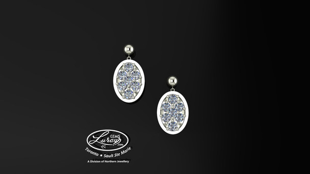 These simple, fashionably framed, two part designs, accentuate the crafted reflective center setting supporting .21 CT diamond.  Diamonds  are selected by experts for their brilliance, rich color and eye catching appeal.  Suspended on 3mm drop down ball studs with secure butterfly clasps, these stunning pieces will catch the light with every movement.  We believe as you do …  Be it; birthday, anniversary or just because… she deserves the best.  Your choice of 10 or 14K gold, white, yellow or two tone.