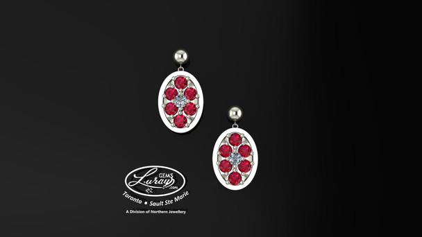 These simple, fashionably framed 11X13 OVAL, two part designs, accentuate the crafted reflective center setting supporting .05 CT per side for a .10 ct tdw and genuine RUBY gemstones.  Diamonds and gemstones are selected by experts for their brilliance, rich color and eye catching appeal.  Suspended on 3mm drop down ball studs with secure butterfly clasps, these stunning pieces will catch the light with every movement.