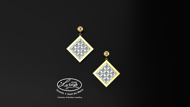This simple, fashionably framed 9X9 mm square, two part design accentuates a crafted reflective center setting supporting .30 ct of hand selected brilliant diamonds. Hand selected by experts for their brilliance, rich color and eye catching appeal.  We believe as you do …  Be it; birthday, anniversary or just because… she deserves the best.  Your choice of 10 or 14K gold, white, yellow or two tone.