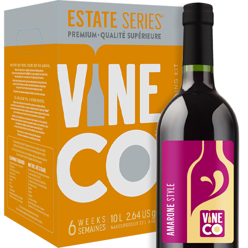 This rich red wine hails from Valpolicella in the Veneto region of north-eastern Italy. Traditionally, Amarone is made from only three approved grape varieties—Corvina, Corvinone, and Rondinella. To prepare the grapes, winemakers use a process known as 'apassimento', an Italian term for drying the harvested grapes for up to several months to concentrate the sugars and flavor. Amarone is known for its full-body, strong flavor, and high alcohol percentage. Some speculate Amarone's creation to date back to Ancient Rome, as this powerful red would have slaked the Roman's thirst for highly alcoholic wine.  Our Italian Amarone has an immersed dark fruit essence of black cherry and plum backed up by notes of chocolate and a moderate oak character. Full-bodied and dry with an alcohol content of 13.5% by volume.  The VineCo Estate Amarone is best enjoyed over a hearty meal of red steak or venison with good company, or as an after-dinner treat paired with heartfelt conversation with that special someone. Not to be poured on any occasion, but savored as a delicious moment.
