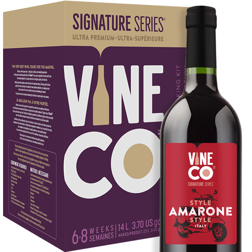 """Amarone style red wine hails from Valpolicella in the Veneto region of north-eastern Italy. Traditionally, Amarone is made from only three approved grape varieties—Corvina, Corvinone, and Rondinella. To prepare the grapes, winemakers use a process known as 'apassimento', an Italian term for drying the harvested grapes for up to several months to concentrate the sugars and flavor. Amarone is known for its full-body, strong flavor, and high alcohol percentage. Some speculate Amarone's creation to date back to Ancient Rome, as this powerful red would have slaked the Roman's thirst for highly alcoholic wine.  Our Italian Amarone Style has a deep red fruit quality with notes of tart cherry and raspberry, a hint of chocolate and spice, with a moderate oak character. Standing tall at 14% alcohol by volume, this full-bodied wine is quite dry with a long lingering finish.  The Signature Series™ Amarone Style is one of the most satisfying kits to make thanks to the inclusion of grape skins. You'll mirror the professional vintner process of """"punching the cap"""", which makes your winemaking adventure even more hands on. VineCo's jammy skin packs are much more expressive than dried grape skins, imparting more character from the grapes and boosting tannin structure in the finished wine.  High quality French oak cubes are used in the making of the Amarone Style kit. One of the reasons oak has always been used to age wine is the slow release of delicious, complex compounds that complement the wines flavor. Oak cubes have more depth of flavor than chips or powder and slowly release compounds like furfural (sweet, caramel like), lignins (vanillin, spice, smoke), and lactones (classic oak flavor). French oak in particular is known to deliver refined, less apparent oakiness than American oak. It's famous for adding mouthfeel and flavors of custard and chocolate while still allowing the fruit flavors of the wine to shine through.  The Vineco Signature Amarone Style is best enjoyed over a """