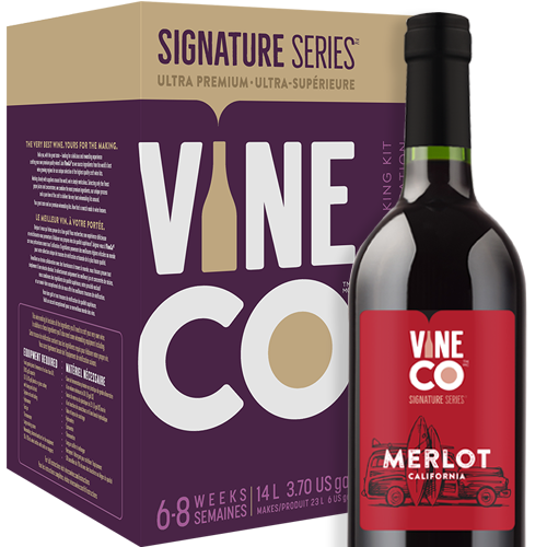 """Merlot is extraordinary in its flexibility, able to be paired with many different grapes to create magnificent blends, but easily stands on its own in varietal wines. Sometimes mistaken for Cabernet Sauvignon in blind tastings, the two grapes are both descendents of Cabernet Franc and can display similar flavors and textures, although Merlot is known for being softer and less tannic. Aromas and flavors include blackberry, cassis, baked cherries, dark chocolate and mocha, among others. Merlot ranks as the second most-widely grown grape in the world, but reigns supreme in the Médoc district of Bordeaux.  California-grown Merlot grapes produce what is known as """"Warm-Climate Merlot"""", which is the category that Merlot grown in Australia and Argentina also fall under. These grapes tend to be heavier on the fruit notes and lighter in body. Due to the lower tannin levels and softer finish, some vitners employ a longer oak-aging process to give the wine more structure.  Our California Merlot is a full-bodied red with big fruit flavors with hints of rich baking spices and purple floral notes. On the higher end in regards to alcohol content at 14%, this wine has a dry chocolate finish with a moderate oak character.  The Signature Series™ Merlot is one of the most satisfying kits to make thanks to the inclusion of grape skins. You'll mirror the professional vintner process of """"punching the cap"""", which makes your winemaking adventure even more hands on. VineCo's jammy skin packs are much more expressive than dried grape skins, imparting more character from the grapes and boosting tannin structure in the finished wine.  High quality American oak cubes are used in the final aging process of the California Merlot kit. One of the reasons oak has always been used to age wine is the slow release of delicious, complex compounds that complement the wines flavor. Oak cubes have more depth of flavor than chips or powder and slowly release compounds like furfural (sweet, caramel like), lig"""