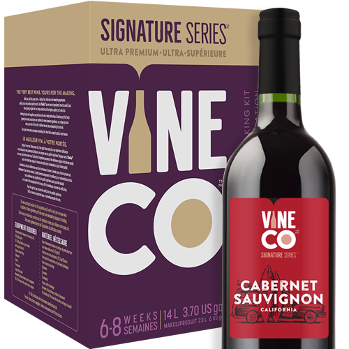 """The world's superlative winemaking grape, Cabernet Sauvignon is capable of producing the most complex, well-balanced, and lasting red wines you'll ever come across. As one of the most tannic grapes used in winemaking, Cabernet Sauvignon has long been misunderstood as a wine that required ageing in order for it to develop and soften. But after decades of research, growers have learned to identify when the grapes are ready to be harvested based on the tannic ripeness, rather than sugar content alone. Although these wines are ideal candidates for ageing—and will develop beautifully when laid down—it is well within reach for winemakers to produce excellent, structured Cabernet Sauvignons that are well-enjoyed while they're still young. Descended from Cabernet Franc and Sauvignon Blanc, this relatively young grape is believed to have sprouted up from a chance crossing in the 17th century. Regardless, Cabernet Sauvignon is now the most widely planted wine grape in the world.  From Bordeaux by way of California, Cabernet Sauvignon enjoys the same status and adoration in the grape growing regions of the Golden State as it does back home in France. The grapes grown in California tend to be more fruit-forward and delicate, with deep dark fruit notes of blueberry and blackberry and hints of mint and eucalyptus.  Our California Cabernet Sauvignon displays layer upon layer of dark berry fruit with notes of spice and vanilla. A well structured red wine with plush tannins and a dry finish. This full-bodied red is heavy on the oak character, with a sturdy alcohol level of 14%.  The Signature Series™ Cabernet Sauvignon is one of the most satisfying kits to make thanks to the inclusion of grape skins. You'll mirror the professional vintner process of """"punching the cap"""", which makes your winemaking adventure even more hands on. VineCo's jammy skin packs are much more expressive than dried grape skins, imparting more character from the grapes and boosting tannin structure in the finish"""