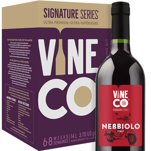 """The pride of Piedmont, Nebbiolo enjoys the same exalted status in Italy as cabernet sauvignon commands in France. Massively structured and fiercely tannic, a well-made Nebbiolo will display a combination of complexity and power that is unmatched by other varietals. Most successfully grown in the Piedmont province of northwestern Italy, this grape is notorious for being difficult to cultivate in other parts of the world, with Mexico's Guadalupe Valley being one of the rare exceptions. Unique flavors and aromas of tar, cherry, and violets come through in this red wine, along with a pronounced bitterness from the grape's assertive tannins. Until recently, 10 years of ageing was considered the minimum, but modern winemaking techniques have allowed Nebbiolo to be enjoyed while it's still young.  Our Italian Nebbiolo features intense aromas of ripe cherry, hints of leather and anise, with strong tannins and a high acidity. Full bodied and dry, this red wine has a generous oak character and just as generous alcohol level at 14% by volume.  The Signature Series™ Nebbiolo is one of the most satisfying kits to make thanks to the inclusion of grape skins. You'll mirror the professional vintner process of """"punching the cap"""", which makes your winemaking adventure even more hands on. VineCo's jammy skin packs are much more expressive than dried grape skins, imparting more character from the grapes and boosting tannin structure in the finished wine.  High quality oak cubes are used in the final aging process of the Nebbiolo kit. One of the reasons oak has always been used to age wine is the slow release of delicious, complex compounds that complement the wines flavor. Oak cubes have more depth of flavor than chips or powder and slowly release compounds like furfural (sweet, caramel like), lignins (vanillin, spice, smoke), and lactones (classic oak flavor). The Nebbiolo is a big wine, with big mouthfeel, and features more oak than any other kit.  The VineCo Signature Nebbiolo may b"""