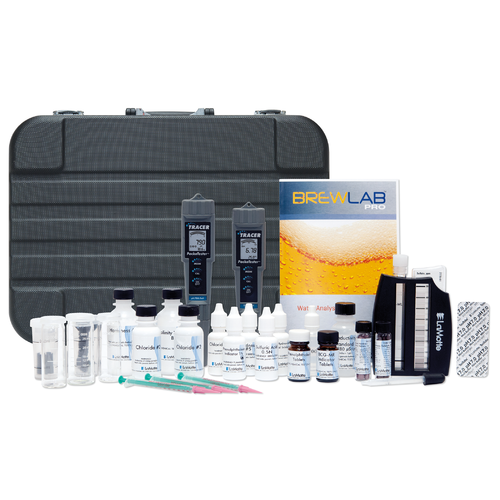 """Nail down your water adjustments with the Lamotte BrewLab Pro water analysis kit. Developed with pro brewers in mind, this kit measures 11 of the most important factors in the brewing process. Knowing what's in your water and how to adjust the mineral profile will take your brews to the next level. After all, water is the main ingredient in beer!   Test for 11 Essential Factors Chloride Sulfate Alkalinity Total Hardness Calcium Hardness Magnesium Hardness Sodium pH Temperature Total Dissolved Solids Dissolved Oxygen This kit was developed in cooperation with John Palmer, author of Water, A Comprehensive Guide for Brewers. Check out Palmer's Brewing Water Adjustment App, currently available for iOS devices and coming soon to Android.   Alkalinity: Alkalinity is generally a problem in brewing water. Alkalinity is the carbonate and bicarbonate content of the water, and acts to raise the pH of the mash and beer. Water hardness can offset the alkalinity, and for that reason both parameters are typically measured as """"Calcium Carbonate"""" in order to determine the net effect.   Chloride: The chloride ion acts to bring out the sweetness and fullness of the malt flavor, much like table salt does for food. Craft brewers often add calcium chloride to brewing water for Pilsner and other lagers.   Dissolved Oxygen: Dissolved oxygen can have both a positive and negative impact on beer, depending on the brewing stage. While fermentation itself is an anaerobic process (occurs in the absence of air), yeast cells do require oxygen for growth. Excessive DO can lead to rapid fermentations and excessive yeast growth, resulting in higher ester production, giving fruitier flavors. It can also lead to permanent chill haze, increased beer astringency, and an increase in color intensity, largely due to the oxidation of polyphenols.   Hardness: Water hardness is a brewer's friend because calcium and magnesium are important ions in many biochemical reactions during mashing and fermentation. Calc"""