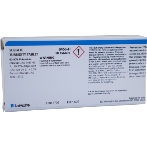 Replacement Sulfate Turb Tablets (6456-H) for the LaMotte Water Test Kit (7189-01).