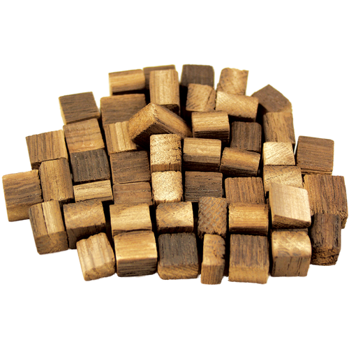 Premium, Fire-Toasted Oak Cubes from Stavin  Medium + Toast American Oak will impart flavors of campfire, vanilla, roasted coffee and butterscotch.  These fire-toasted oak cubes are as close as you can come to the full range of flavors you would get from aging your beer in a full sized barrel, unlike convection-toasted cubes.  The difference is that convection toasted cubes are made by cutting the stave to size, then passing the small cubes through a toasting chamber. Stavin fire-toasts their staves whole, just like they would when making a barrel, and then cuts them down to size. The result is a gradation of toasting from the surface through to the center of the cube, where each different toast level represents a different flavor set that the oak will give your beer. The result is a much more complex and natural profile; by comparison convection toasted cubes taste one dimensional.  Oak cubes also release their flavor into your beer more slowly than chips, giving you more control over the final degree of impact in your beer. You should plan on an extended aging period of 1-6 months when using cubes. This longer contact time again promotes flavor complexity by allowing all the flavors of the oak and your beer to marry.  Recommended Dosage is 2 oz per 5 gallons for impact equivalent to aging in a brand new oak barrel.  California Recipients: WARNING: Cancer - www.P65Warnings.ca.gov
