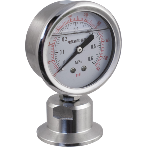 Stainless - 1.5 in. T.C. Pressure Gauge (0-87 psi)