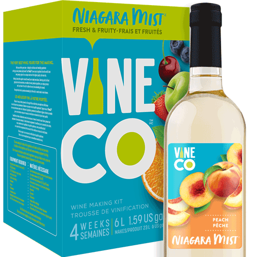 The VineCo Niagara Mist lineup offers a crisp, easy-drinking alternative to more traditional winemaking kits. These fruit-forward wine kits are all about capturing the refreshing essence of juicy ripe fruit. Light and crisp and offered in a full assortment of reds, whites, and rosés. Niagara Mist wines are easily enjoyed on their own, but also work well as the base for punches or wine spritzers.  Light, fresh, and brimming with flavors of sweet ripe peach. Niagara Mist Peach is a light-bodied, sweet white wine with an alcohol level of 6% by volume.