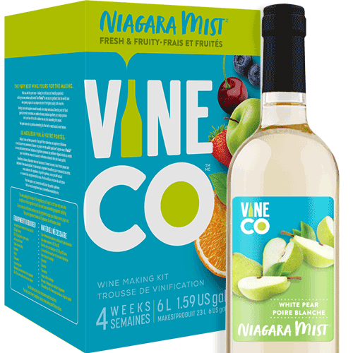 The VineCo Niagara Mist lineup offers a crisp, easy-drinking alternative to more traditional winemaking kits. These fruit-forward wine kits are all about capturing the refreshing essence of juicy ripe fruit. Light and crisp and offered in a full assortment of reds, whites, and rosés. Niagara Mist wines are easily enjoyed on their own, but also work well as the base for punches or wine spritzers.  White Pear is a cheerful combination of juicy pears and a splash of lemon, wrapped up with notes of custard and white flowers. A light-bodied, sweet white wine with an alcohol level of 6% by volume.